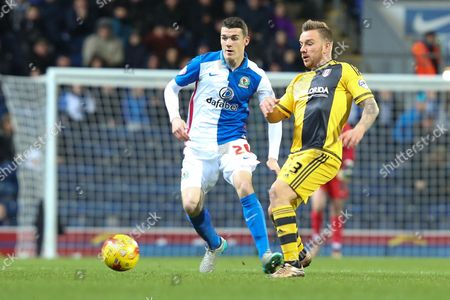 Darragh Lenihan of Blackburn Rovers and Jamie O'Hara of Fulham battle for the ball during the Sky Bet Championship match between Blackburn Rovers and Fulham at Ewood Park, Blackburn