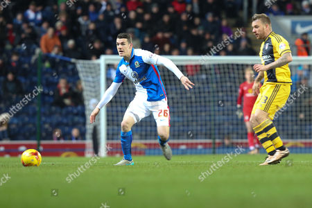 Darragh Lenihan of Blackburn Rovers and Jamie O'Hara of Fulham in action during the Sky Bet Championship match between Blackburn Rovers and Fulham at Ewood Park, Blackburn