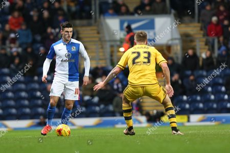 Ben Marshall of Blackburn Rovers and Jamie O'Hara of Fulham in action during the Sky Bet Championship match between Blackburn Rovers and Fulham at Ewood Park, Blackburn