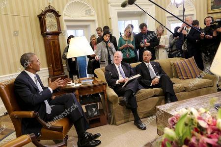 President Barack Obama, former National Security Advisor Tom Donilon and Secretary of Homeland Security Jeh Johnson