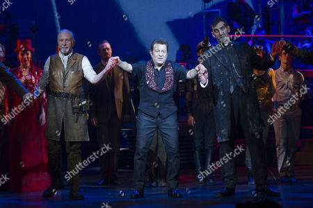 David Essex (The Voice of Humanity), Jeff Wayne (Composer) and Jimmy Nail (Parson Nathaniel) during the curtain call