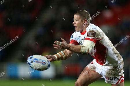 Travis Burns during the Dacia Rugby League World Club Series match played between St Helens v Sydney Roosters at Langtree Park, St Helens on February 19th 2016