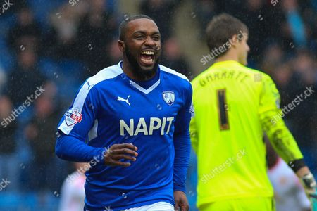 Chesterfield FC forward Sylvan Ebanks-Blake celebrates scoring the opening goal during the Sky Bet League 1 match between Chesterfield and Crewe Alexandra at the Proact stadium, Chesterfield