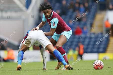 Alex Song competes with Elliott Bennett during the Emirates FA Cup 5th Round match played between Blackburn Rovers and West Ham United at Ewood Park, Blackburn on February 20th 2016