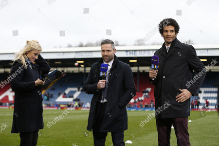 BT Sport TV presenter Lynsey Hipgrave pictured pitch side with David Dunn and David James ahead of the Emirates FA Cup 5th Round match played between Blackburn Rovers and West Ham United at Ewood Park, Blackburn on February 20th 2016