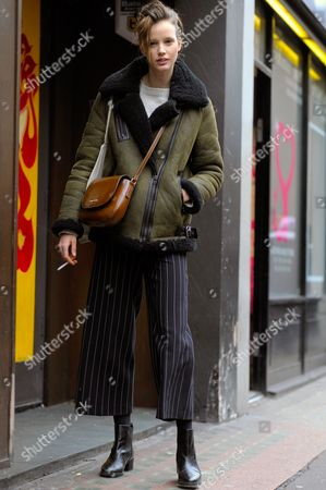 Editorial image of Street Style Autumn Winter 2016 London Fashion Week Britain - 20 Feb 2016