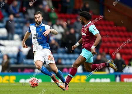 Shane Duffy of Blackburn Rovers and Alex Song of West Ham United