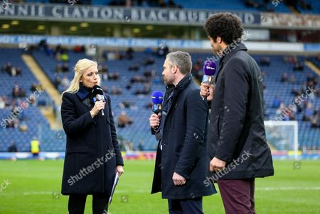 Lynsey Hipgrave presents for BT Sport along with pundits David Dunn and David James