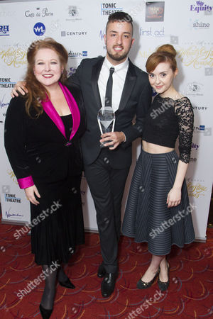 Kim Criswell, Paul Taylor-Mills and Evelyn Hoskins accept the award for Best Off-West End Production sponsored by Les Miserables for Carrie the Musical at Southwark Playhouse
