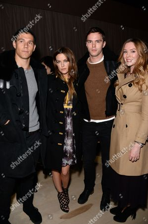 Stock Photo of Ben Smith-Petersen, Riley Keough, Nicholas Hoult and Rosanna Hoult in the front row