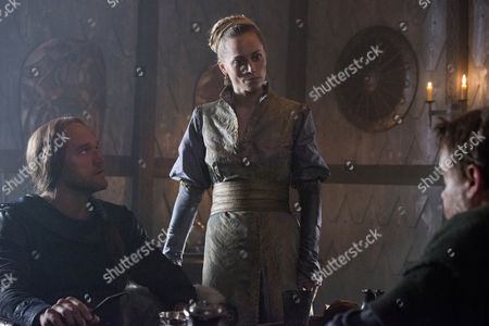 BEOWULF EP 7 Pictured: ELLIOT COWAN as Abrecan, SARAH MACRAE as Saray and LEE BOARDMAN as Hane.