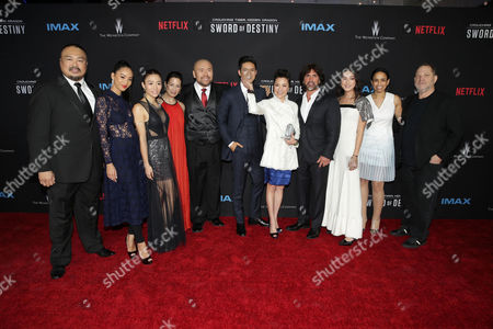 Stock Photo of Darryl Quon, Shuya Chang, JuJu Chan, Eugenia Yuan, Woon Young Park, Harry Shum Jr., Michelle Yeoh, John Fusco, Natasha Liu Bordizzo, Pauline Fischer, Harvey Weinstein