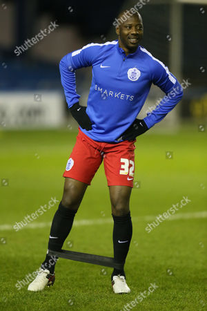 Stock Image of Queens Park Rangers Samba Diakite warms up before the Sky Bet Championship match between Sheffield Wednesday and Queens Park Rangers played at the Hillsborough Stadium, Sheffield on February 23rd 2016