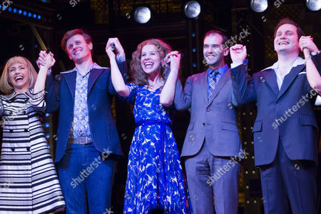 Lorna Want (Cynthia Weil), Alan Morrissey (Gerry Goffin), Cassidy Janson (Carole King), Gary Trainor (Don Kirshner) during the curtain call