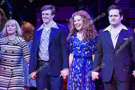 Lorna Want (Cynthia Weil), Alan Morrissey (Gerry Goffin), Cassidy Janson (Carole King) and Gary Trainor (Don Kirshner) during the curtain call