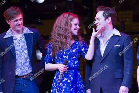 Alan Morrissey (Gerry Goffin), Cassidy Janson (Carole King) and Gary Trainor (Don Kirshner) during the curtain call