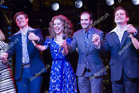 Alan Morrissey (Gerry Goffin), Cassidy Janson (Carole King), Marc Bruni (Director) and Gary Trainor (Don Kirshner) during the curtain call