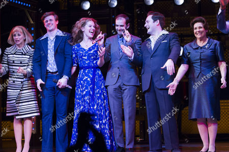 Lorna Want (Cynthia Weil), Alan Morrissey (Gerry Goffin), Cassidy Janson (Carole King), Marc Bruni (Director), Gary Trainor (Don Kirshner) and Diane Keen (Genie Klein) during the curtain call