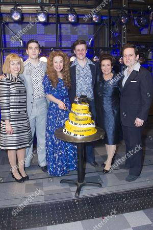 Lorna Want (Cynthia Weil) Ian McIntosh (Barry Mann), Cassidy Janson (Carole King), Alan Morrissey (Gerry Goffin), Diane Keen (Genie Klein) and Gary Trainor (Don Kirshner) backstage