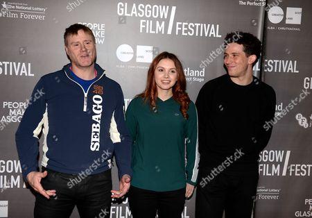 Hannah Murray with co-stars Steven Waddington and Josh O'Connor