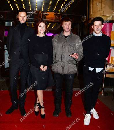 Hannah Murray with co-stars Steven Waddington and Josh O'Connor and director Jeppe Ronde