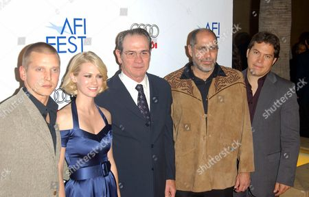 Stock Picture of Barry Perry, January Jones, Tommy Lee Jones, Guillermo Arriaga and Julio Cedillo