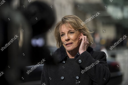 Journalist and television presenter Esther Rantzen speaking outside BBC Broadcasting House in London