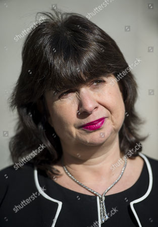 Stock Image of Liz Dux, lawyer for victims of Jimmy Savile speaking outside BBC Broadcasting House in London