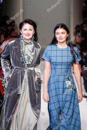 Stock Picture of Luisa Beccaria and Lucilla Bonaccorsi di Reburdone on the catwalk