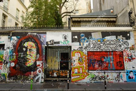Stock Photo of Graffiti on Serge Gainsbourg's house, at 5 rue de Verneuil in Paris
