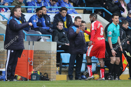Chesterfield Manager, Danny Wilson, shakes hands with Sylvan Ebanks-Blake as he is substituted in the second half during Gillingham vs Chesterfield, Sky Bet League 1 Football at the MEMS Priestfield Stadium, Gillingham