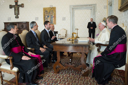 Pope Francis meets Kevin Systrom co-founder of Instagram during a private audience at the Vatican.