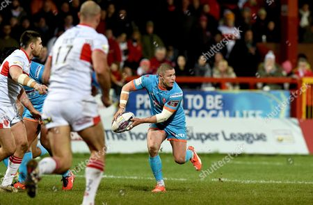 St Helens' Travis Burns during the First Utility Super League match between Hull KR and St Helens at the KC Lightstream Stadium, Hull on the 26th of February 2016.