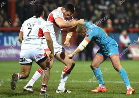 St Helens' Travis Burns  and James Green of Hull KR fight and are sin binned during the First Utility Super League match between Hull KR and St Helens at the KC Lightstream Stadium, Hull on the 26th of February 2016.