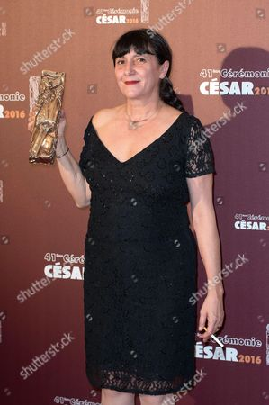 French producer Sylvie Pialat with the Best Cinematography award received on behalf of French cinematographer Christophe Offenstein for 'Valley of Love'