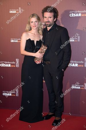 Melanie Laurent and Cyril Dion with their trophy for Best Documentary Feature for 'Demain' (Tomorrow)
