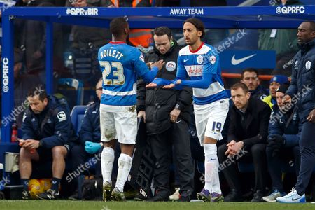 David Hoilett of QPR is substituted off and replaced by Abdenasser El Khayati during the SkyBet Championship match between QPR and Birmingham City played at Loftus Road Stadium, London on February 27th 2016