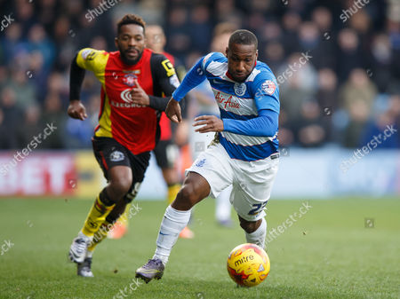 David Hoilett of QPR and Jacques Maghoma of Birmingham City during the SkyBet Championship match between QPR and Birmingham City played at Loftus Road Stadium, London on February 27th 2016