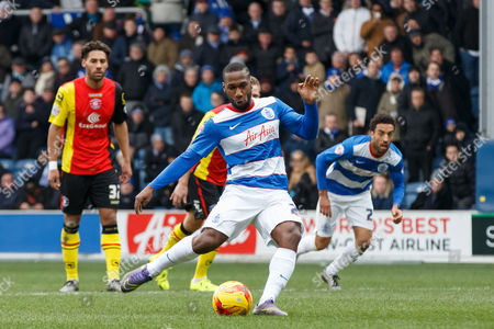 David Hoilett of QPR scores a penalty goal to make it 2-0 during the SkyBet Championship match between QPR and Birmingham City played at Loftus Road Stadium, London on February 27th 2016