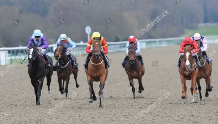 Lingfield Park Racecourse. The Ladbrokes Maiden Stakes. Harry Holland ridden by George Baker (yellow cap) wins.