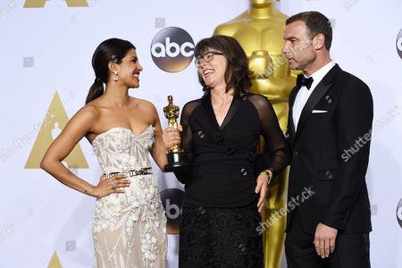 Stock Photo of Priyanka Chopra, Margaret Sixel and Liev Schreiber - Achievement in Film Editing, Mad Max: Fury Road