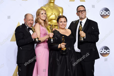 Stock Image of Michael Sugar, Steve Golin, Nicole Rocklin and Blye Pagon Faust - Best Picture, Spotlight