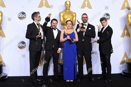 Stock Image of Andy Serkis with Mark Ardington, Paul Norris, Sara Bennett and Andrew Whitehurst - Achievement in Visual Effects, Ex Machina