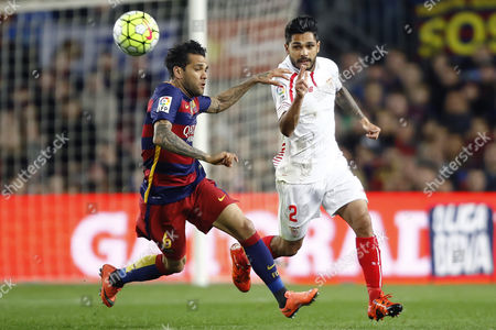 Daniel Alves of Barcelona and Benoit Tremoulinas of Sevilla during the Spanish League, Liga BBVA date 26 between FC Barcelona and Sevilla played at the Camp Nou, Barcelona on February 28th 2016.