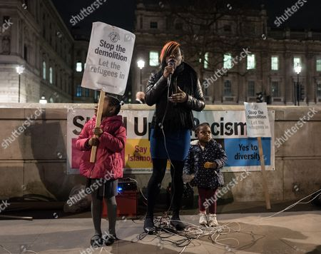 Shakira Martin, from the National Union of Students, speaks at a demonstration opposite Downing Street against the demolition of the 'Jungle' camp in Calais.