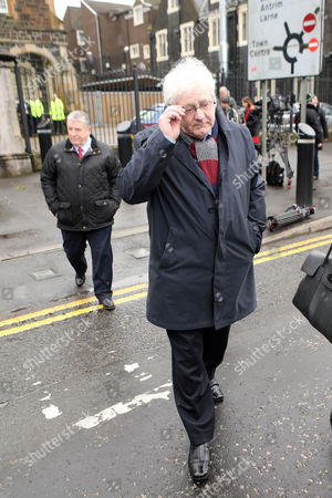 Michael Gallagher who lost his son Aiden in the 1998 Omagh Bomb, leaves Ballymena Court House after the case against a man accused of murdering 29 people in the Real IRA bomb attack in Omagh in 1998 has collapsed.