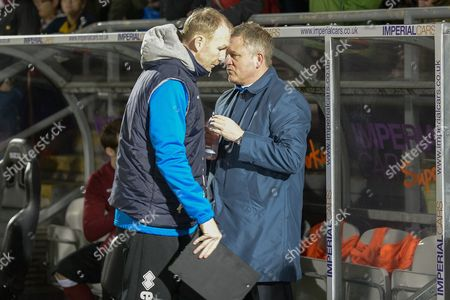 Northampton Town Manager Chris Wilder with assistant manager Alan Knill during the Sky Bet League 2 match between Northampton Town and AFC Wimbledon at Sixfields Stadium, Northampton