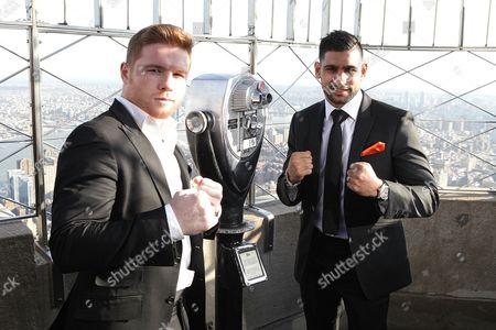 Stock Photo of Saul Alvarez and Amir Khan