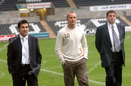Stock Image of Neil Sang, Trundle's agent / representative, Lee Trundle and Leigh Dineen, Swansea City vice chairman