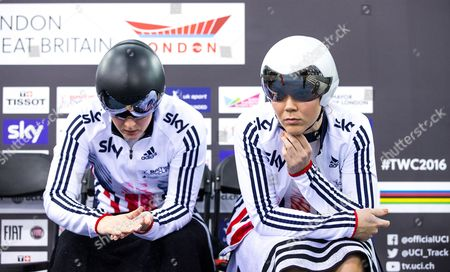 Great Britain's Katy Marchant (L) and Jessica Varnish (R) prepare to compete in the Women's Team Sprint qualification.